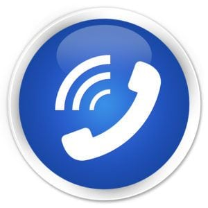 White phone ringing icon on a blue glossy round button